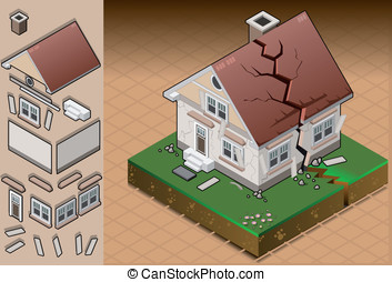 isometric house hit by earthquake