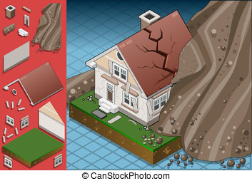 isometric house hit by landslide - Detailed illustration of...