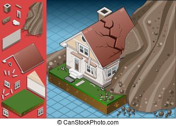 isometric house hit by landslide - Detailed illustration of...