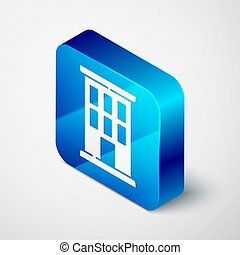 Isometric House icon isolated on grey background. Home symbol. Blue square button. Vector