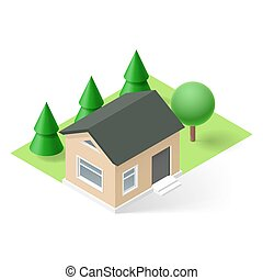 Isometric house - Isometric small house with green grass and...