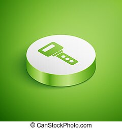 Isometric House key icon isolated on green background. White circle button. Vector