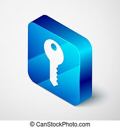 Isometric House key icon isolated on grey background. Blue square button. Vector
