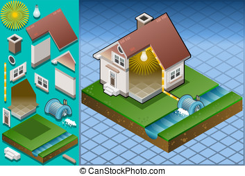 Isometric house powered by watermill