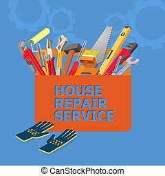 Isometric house repair service concept. Construction tools.