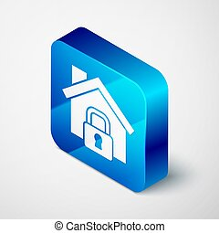 Isometric House under protection icon isolated on grey background. Home and lock. Protection, safety, security, protect, defense concept. Blue square button. Vector