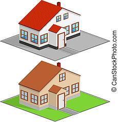 Isometric house, vector illustration