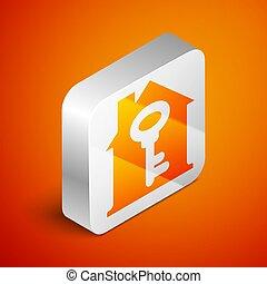 Isometric House with key icon isolated on orange background...