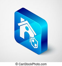Isometric House with shield icon isolated on grey background. Insurance concept. Security, safety, protection, protect concept. Blue square button. Vector