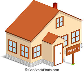 Isometric house with sign 'For Sale', vector illustration