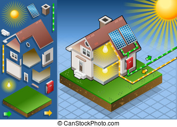 Isometric house with solar panel - Detailed animation of a...