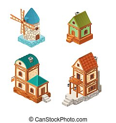 Isometric houses in retro style, vector illustration of ...
