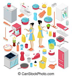 Isometric Housework Objects with Housewife, Cleaning Tools and Cutlery. Vector flat 3d illustration