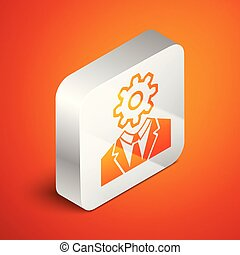Isometric Human head with gear inside icon isolated on orange background. Artificial intelligence. Thinking brain sign. Symbol work of brain. Silver square button. Vector Illustration