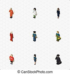 Isometric Human Set Of Guy, Female, Businesswoman And Other Vector Objects. Also Includes Man, Doctor, Police Elements.
