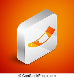 Isometric Hunting horn icon isolated on orange background. Silver square button. Vector