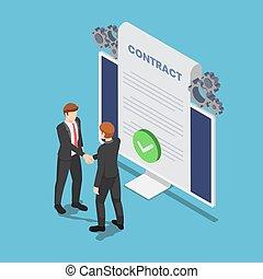 isometric, hydromonitor, porozumienie, kontrakt, ręka, pc, biznesmeni, online, dokument, potrząsanie