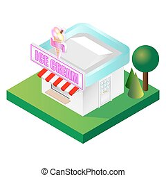Detailed isometric ice cream parlour vector illustration