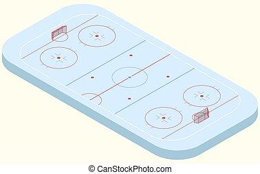 Isometric ice hockey rink in vector