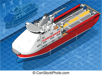Isometric Icebreaker Ship Isolated in Front View