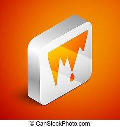 Isometric Icicle icon isolated on orange background. ...