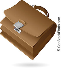 Isometric icon of brief-case. Vector illustration.