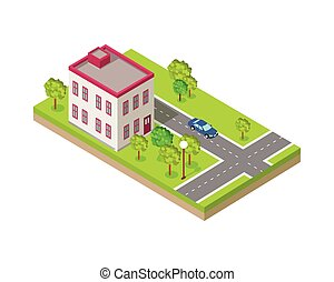 Isometric Icon of Two Storey House Near Road