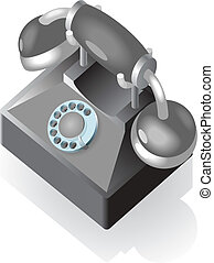 Isometric icon of vintage phone
