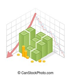 Isometric icon pile of cash red recession graph with downward arrow. Green dollar and gold coins. Vector illustration