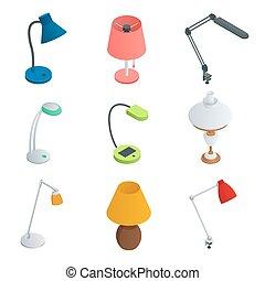 Isometric Icon set of Lamps. Modern designe Flat style.
