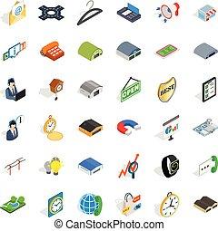 isometric, iconen, set, stijl, activiteit, consument