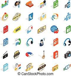 isometric, iconen, set, stijl, hi fi