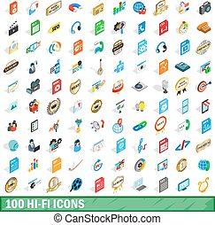 isometric, iconen, set, stijl, hifi, honderd, 3d