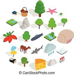 isometric, iconen, set, stijl, planeet, dier