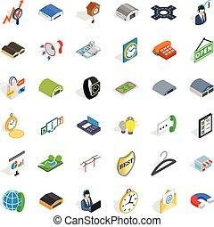 isometric, iconen, set, stijl, procurement, activiteit