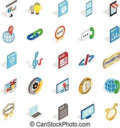 isometric, iconen, set, systeem, stijl, hifi