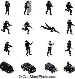 isometric, iconen, verzameling, wapens, bijzondere , eenheid
