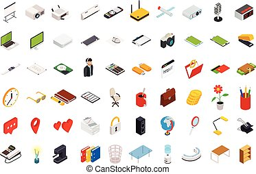 Isometric icons computer technology.