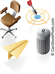 Isometric icons for office time - Office and leisure icons. ...