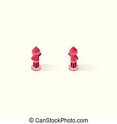 Isometric icons hydrant - Stock set kit vector illustration...