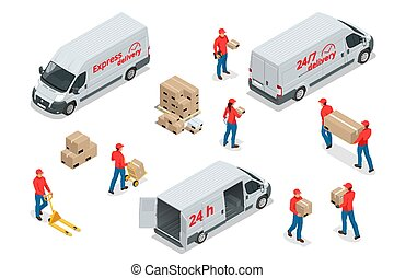 Isometric icons of delivery cars and deliveryman with cardboard boxes. Express, Free or Fast Delivery elements.