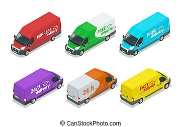 Isometric icons of delivery cars. Express, Free or Fast Delivery truck design elements.