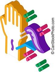 isometric, ikon, leeches, ansökan, arm, vektor, illustration