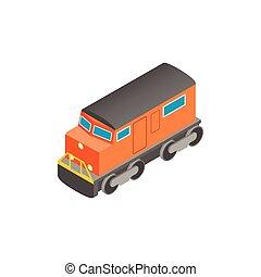 isometric, ikona, 3d, pociąg, lokomotywa