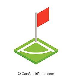 isometric, ikona, piłka nożna, róg, pole, 3d