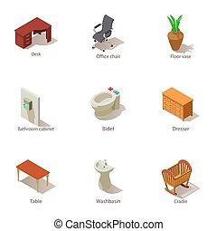 isometric, ikonok, állhatatos, épület, belső, mód