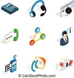 isometric, ikony, komplet, nowoczesny, styl, społeczeństwo