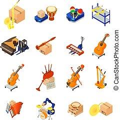 isometric, ikony, komplet, styl, doręczenie, instrument, muzyczny