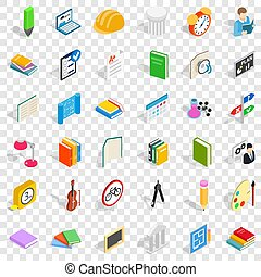 isometric, ikony, komplet, styl, dyplom, kolegium