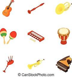 isometric, ikony, komplet, styl, instrument, muzyczny